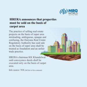HRERA Announces That Properties Must Be Sold On The Basis Of Carpet Area